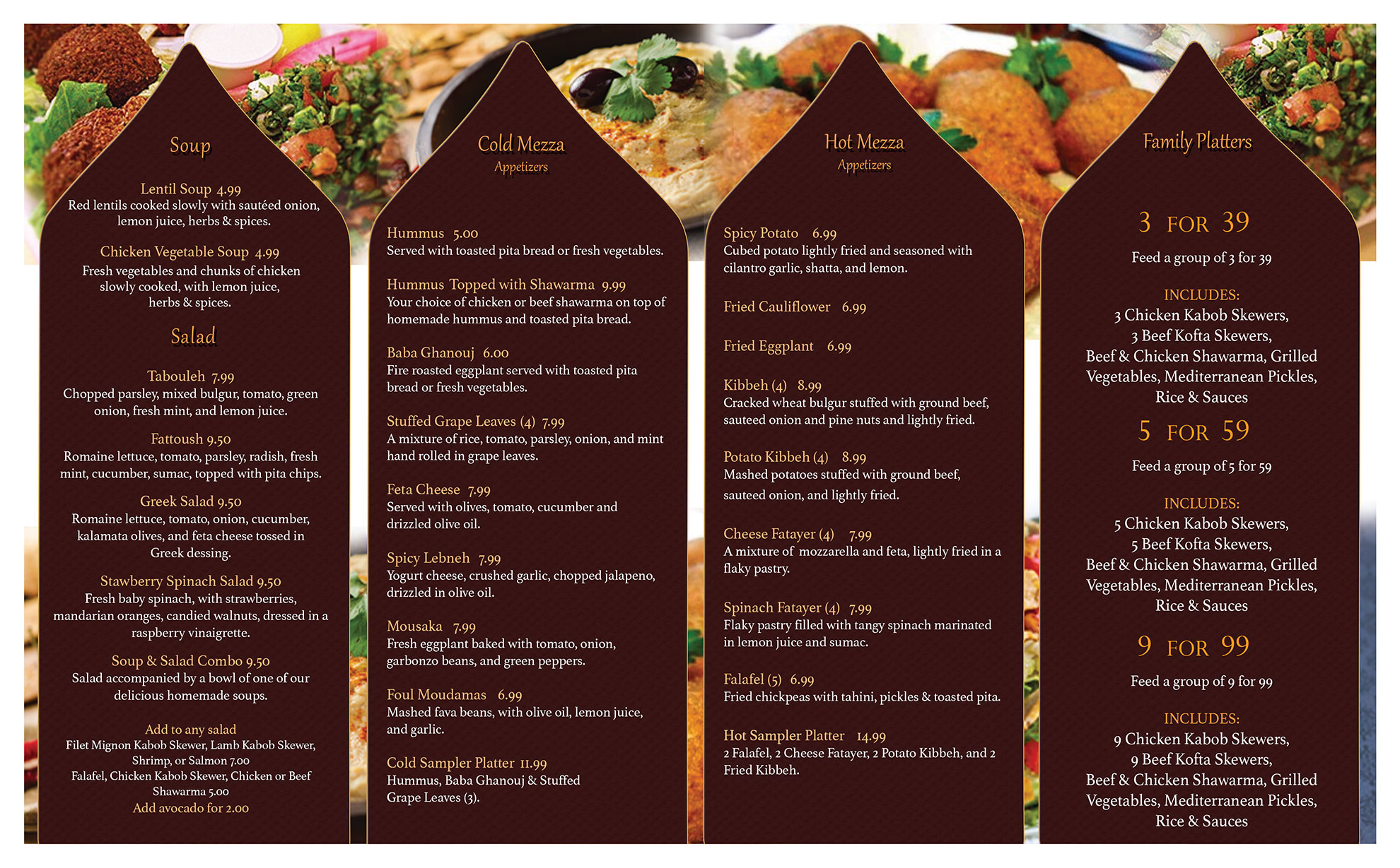 The Mediterranean Bistro Menu